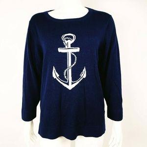BANANA REPUBLIC Blue Anchor Sweater XL